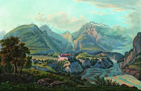 Aquatinta von Johann Ludwig Bleuler, um 1820.