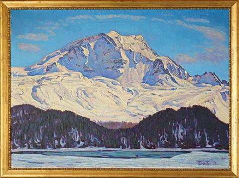 Carl Albert von Salis, Winterlandschaft, im Titel beschrieben als Piz Corvatsch, Gemälde auf Leinwand, 1917.
